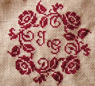 red sajou cross stitch alphabets and figures