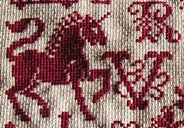 romantic red cross stitch alphabets