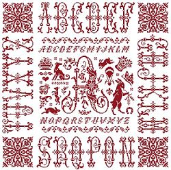 picture of the red cross stitch sampler Ref 004  Monogramme A