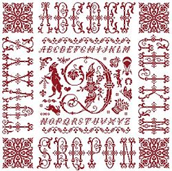 picture of the red cross stitch sampler Ref 004  Monogramme D