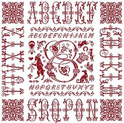 picture of the red cross stitch sampler Ref 004  Monogramme E