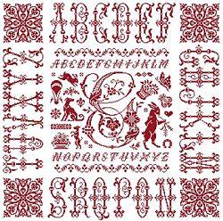 picture of the red cross stitch sampler Ref 004  Monogramme G