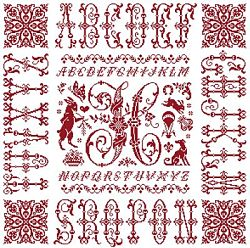 picture of the red cross stitch sampler Ref 004  Monogramme H