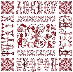 picture of the red cross stitch sampler Ref 004  Monogramme L