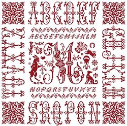 picture of the red cross stitch sampler Ref 004  Monogramme M