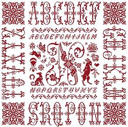 picture of the red cross stitch sampler Ref 004  Monogramme N