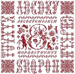 picture of the red cross stitch sampler Ref 004  Monogramme P