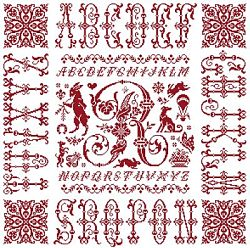 picture of the red cross stitch sampler Ref 004  Monogramme R