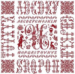 picture of the red cross stitch sampler Ref 004  Monogramme U