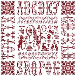 picture of the red cross stitch sampler Ref 004  Monogramme V