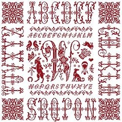 picture of the red cross stitch sampler Ref 004  Monogramme W