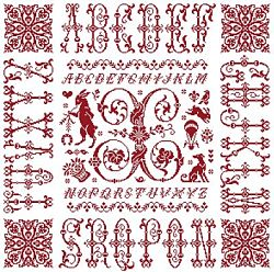 picture of the red cross stitch sampler Ref 004  Monogramme X