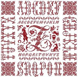 picture of the red cross stitch sampler Ref 004  Monogramme Z