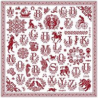romantic red cross-stitch sampler with ancient sajou cross stitch alhabet