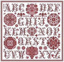 red cross stitch sampler with alhabet, vierlanden rosettes, a lot of borders and cross stitch motifs